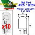 Ampoule Culot Verre 7.V-GE555 (T10) x10