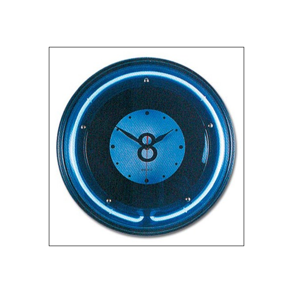 Horloge billard lumineuse bille n 8 n on bleu anim 39 jeux for Horloge lumineuse